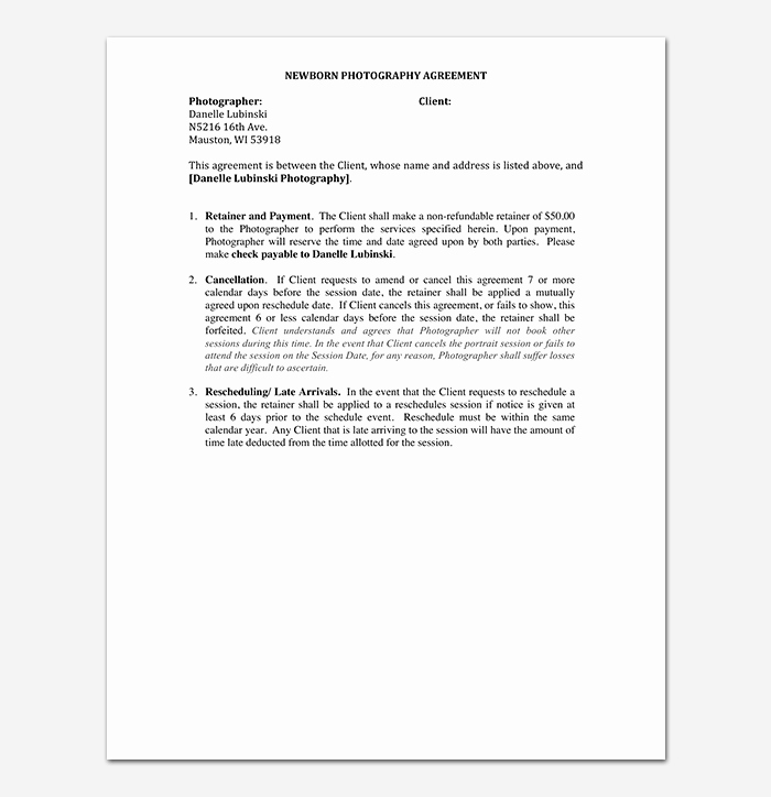 Simple Wedding Photography Contract Template New Graphy Contract Template 40 Free In Word Pdf