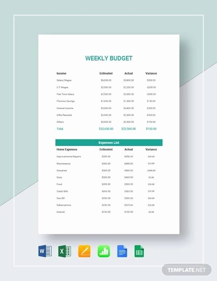 Simple Weekly Budget Template Fresh Free 10 Weekly Bud In Google Docs Google Sheets Ms