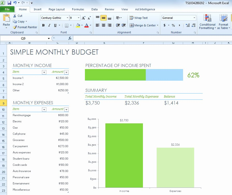 Simple Weekly Budget Template Fresh Simple Monthly Bud Spreadsheet for Excel 2013