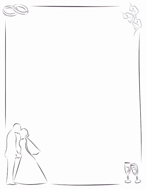 Simple White Paper Template Best Of Simple Border Featuring Line Art Rings Bride and Groom