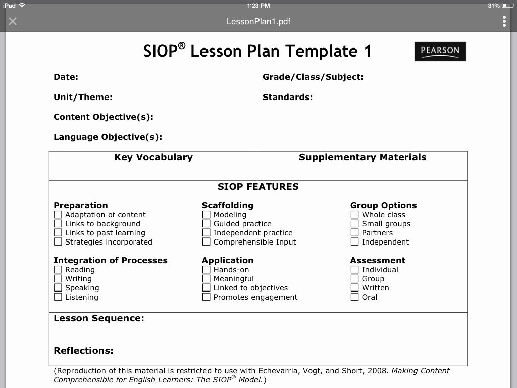 Siop Lesson Plan Template 1 Best Of Siop Lesson Plan Template 1