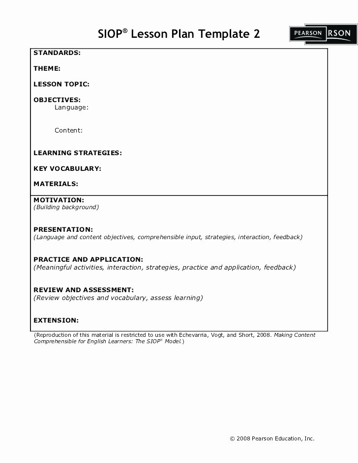 Siop Lesson Plan Template 1 Best Of Siop Lesson Plan Template Pearson – Siop Lesson Plan