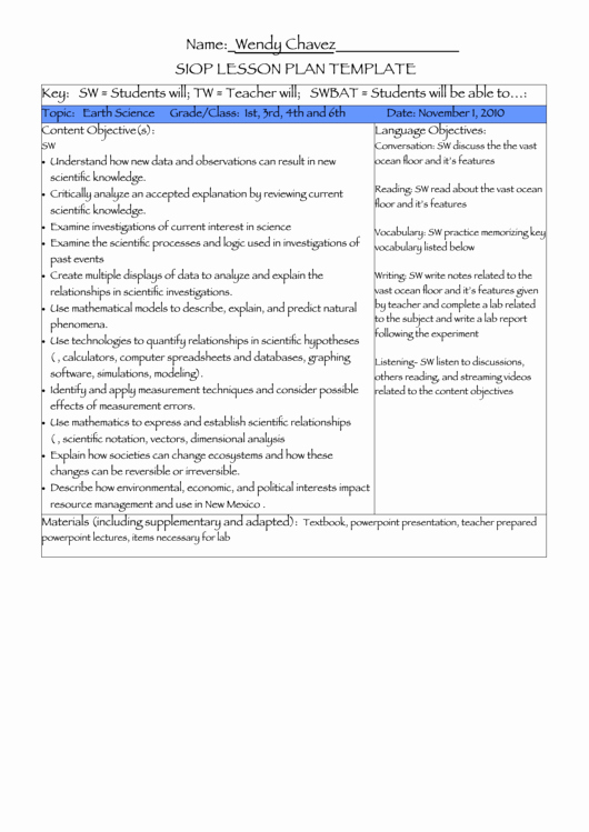 Siop Lesson Plan Template 1 Fresh Siop Lesson Plan Sample Earth Science Printable Pdf