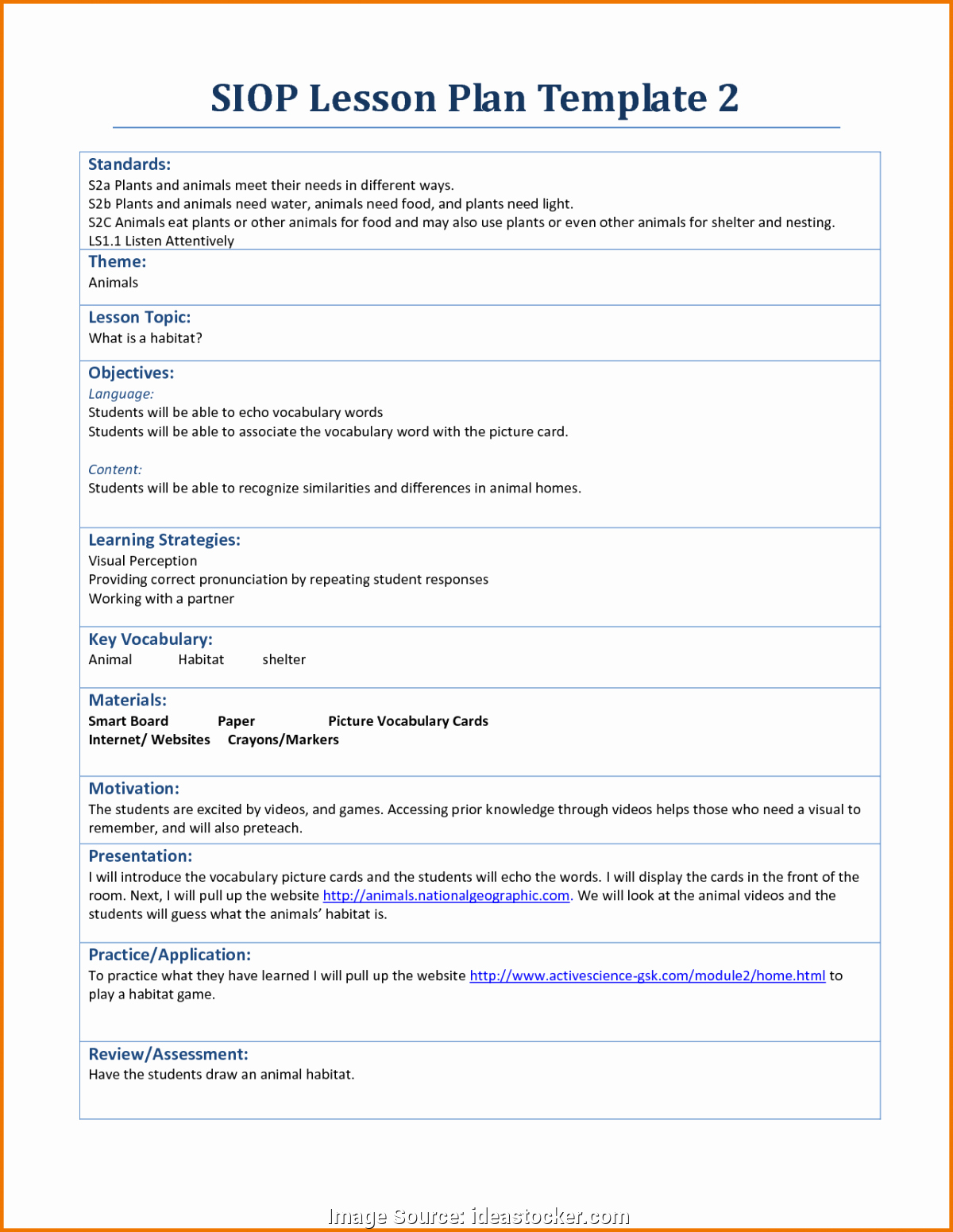 Siop Lesson Plan Template 1 Lovely Simple Siop Lesson Plan 1 Siop Lesson Plan Template