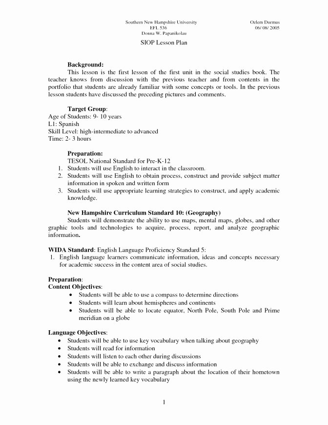 Siop Lesson Plan Template 1 Luxury National University Lesson Plan Template – 44 Free Lesson