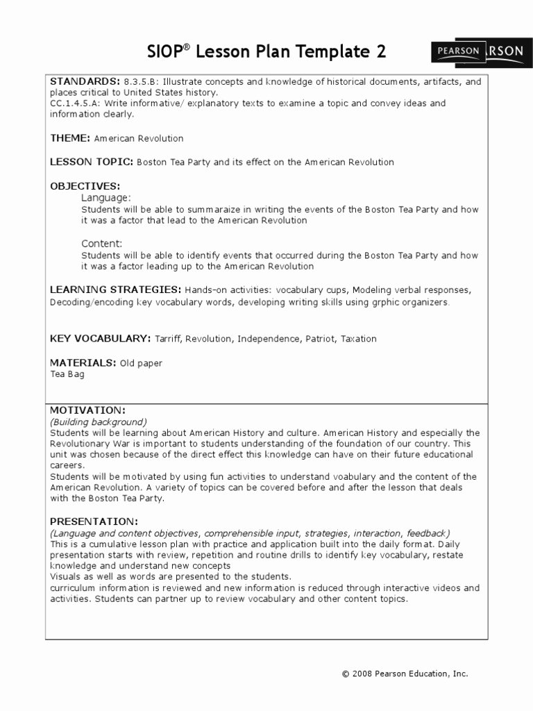 Siop Lesson Plan Template 1 New Siop Lesson Plan Template 2 Standards