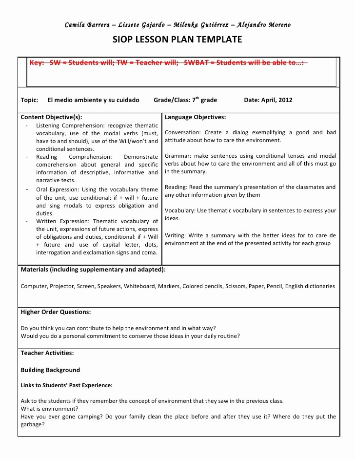 Siop Lesson Plan Template 2 Awesome Siop Unit Lesson Plan Template Sei Model
