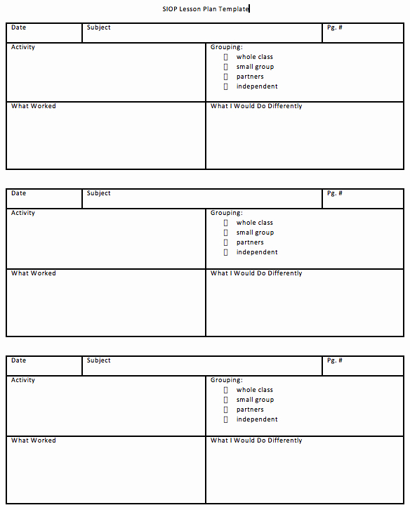 Siop Lesson Plan Template 2 Elegant Download Siop Lesson Plan Template 1 2