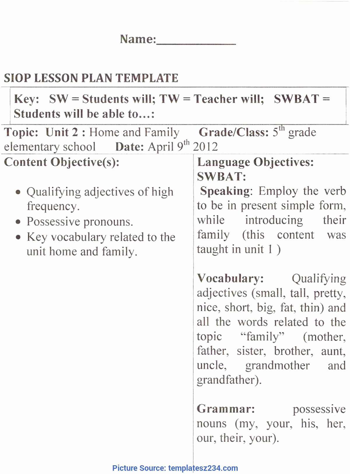 Siop Lesson Plan Template 2 Elegant Valuable Infant Lesson Plans for Valentine S Day Moon