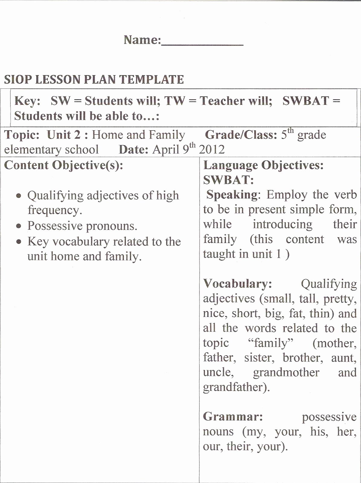 Siop Lesson Plan Template 2 Fresh Learning About Methodology Hands On Activities
