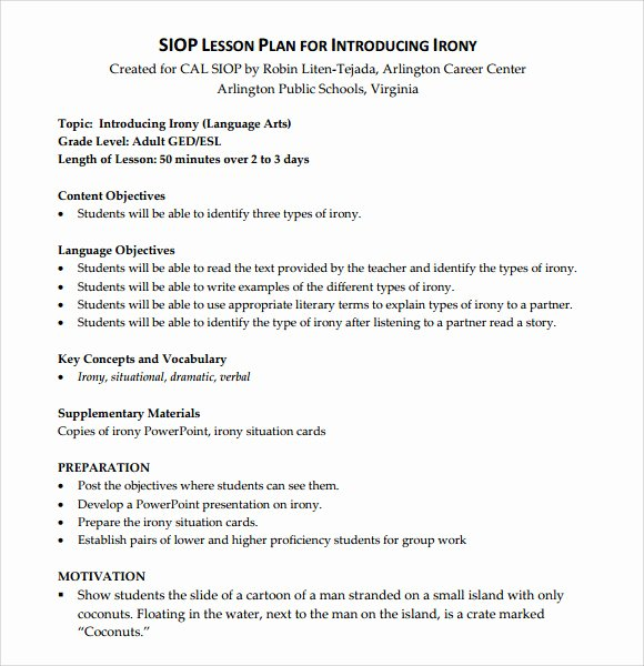 Siop Lesson Plan Template 2 Inspirational Sample Siop Lesson Plan 9 Documents In Pdf Word