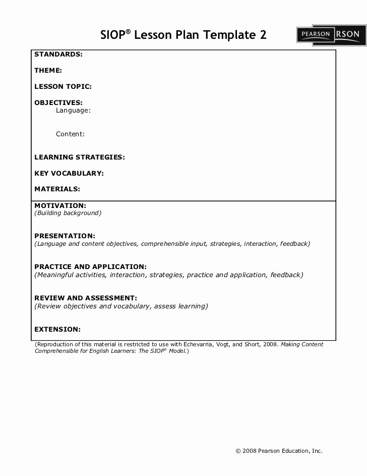 Siop Lesson Plan Template 2 Lovely Siop Lesson Plan Template2