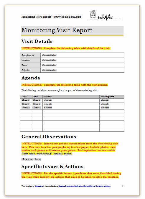 Site Visit Report Templates Beautiful Monitoring Visit Report Template