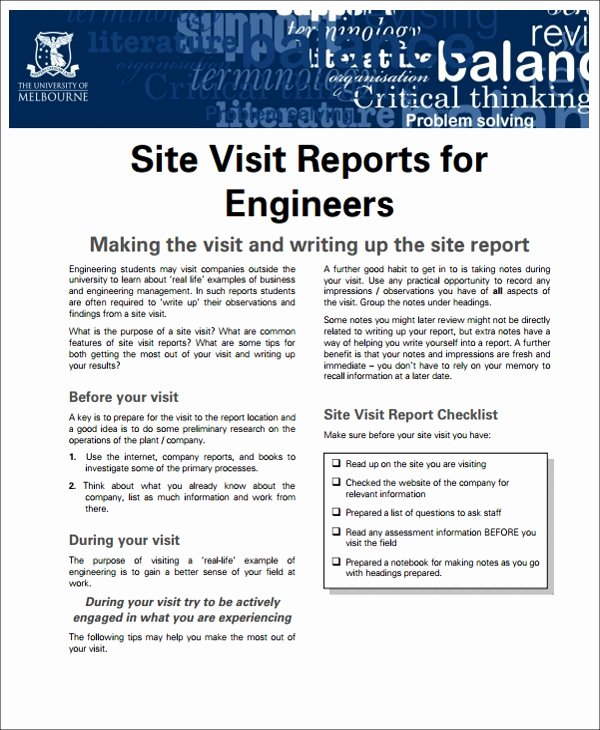 Site Visit Report Templates Luxury 13 Sample Visit Reports Word Pdf Pages