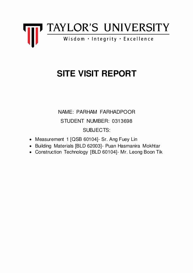 Site Visit Report Templates Luxury Site Visit Report