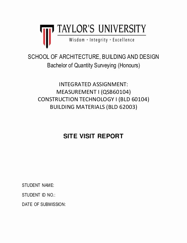 Site Visit Report Templates New Cover Page for Site Visit Report