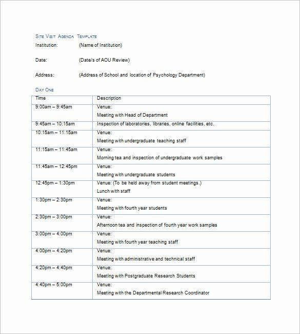 Site Visit Report Templates Unique 6 Trip Agenda Templates Free Sample Example format