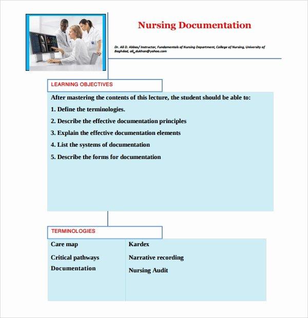 Skilled Nursing Documentation Templates Elegant 8 Nursing Note Templates Pdf