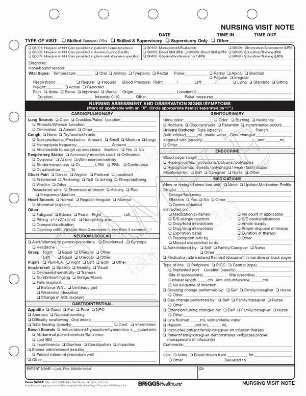 Skilled Nursing Documentation Templates Unique Nursing Visit Note Home Health
