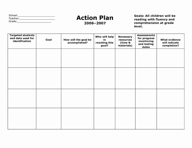 Smart Action Plans Template New Weekly Plan Book Templates for Teachers