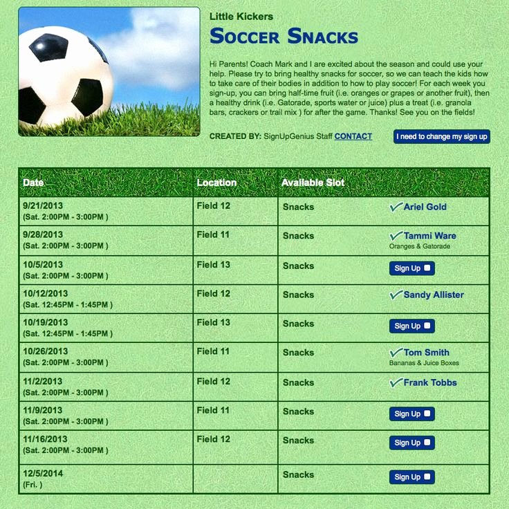 Snack Sign Up Sheet Template Elegant 26 Of Youth Sports Snack Schedule Template