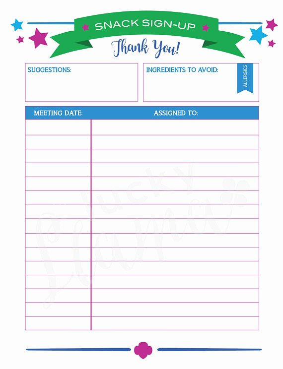Snack Sign Up Sheet Template Fresh Printable Girl Scout Snack Sign Up Sheet Editable Version