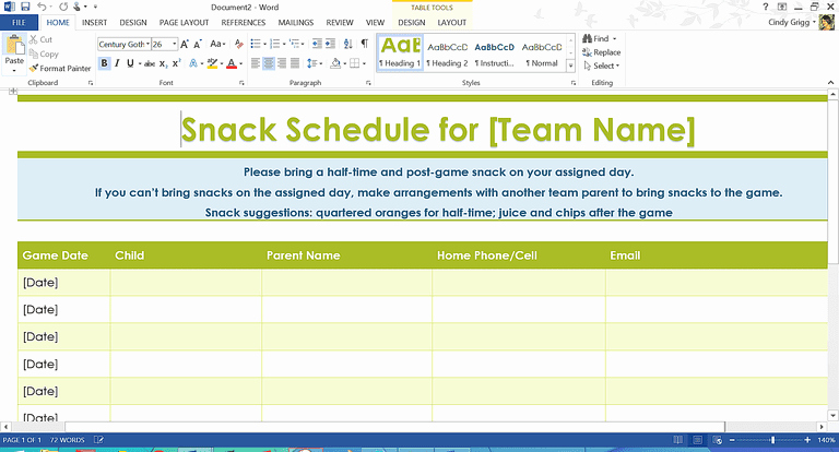 Snack Sign Up Sheet Template Luxury organization Boost Templates and Printables for Families