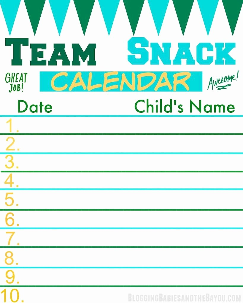 Snack Sign Up Sheet Template Unique Team Snack Calendar Perfect for the Team Mom or Sports