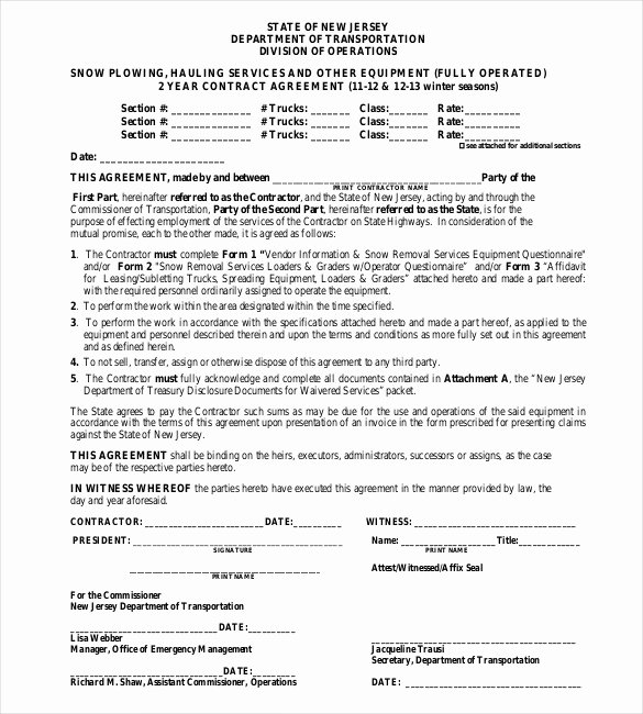Snow Plow Contract Template Awesome 20 Snow Plowing Contract Templates Google Docs Pdf