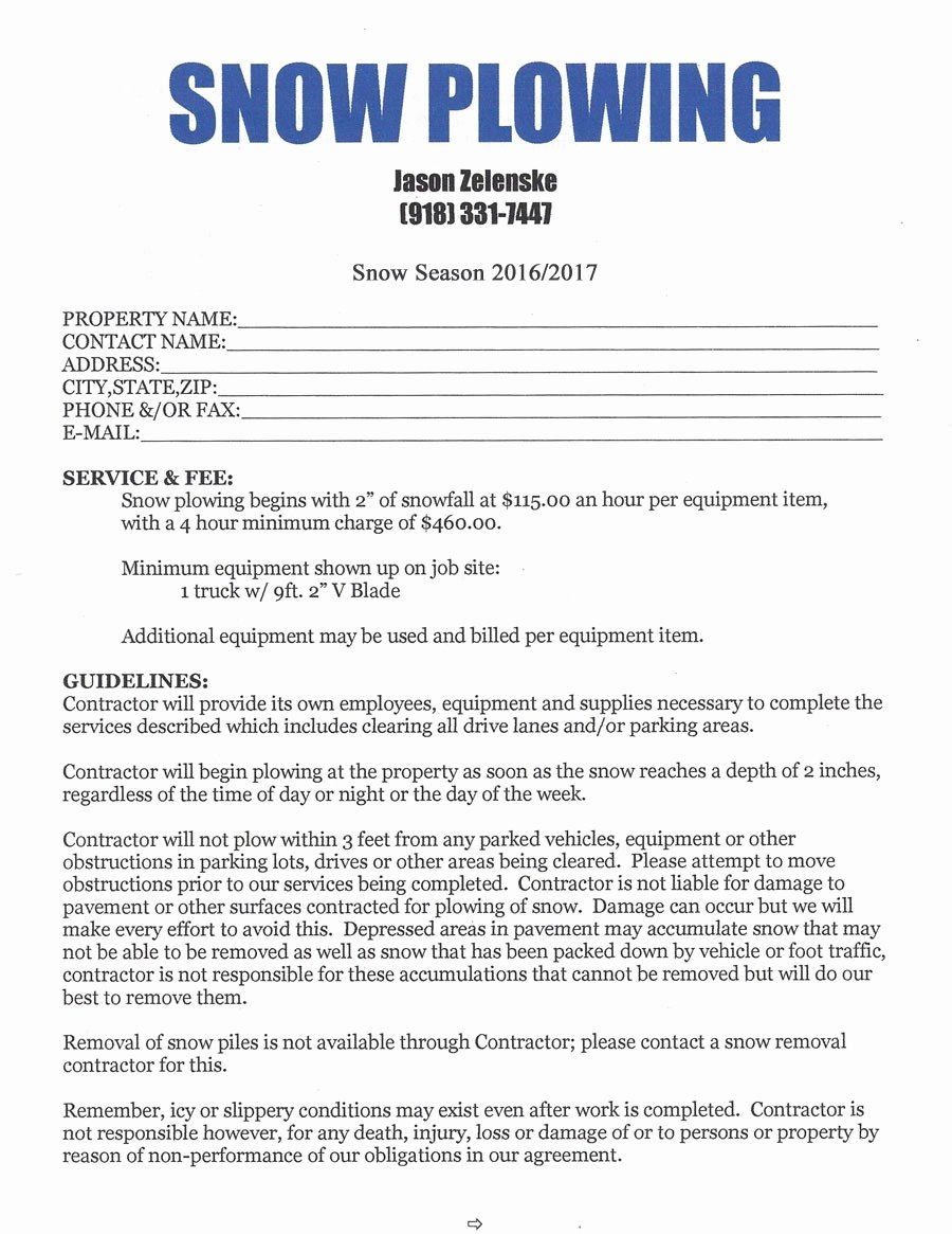 Snow Plow Contract Template Beautiful Snow Removal Contract Template 1721