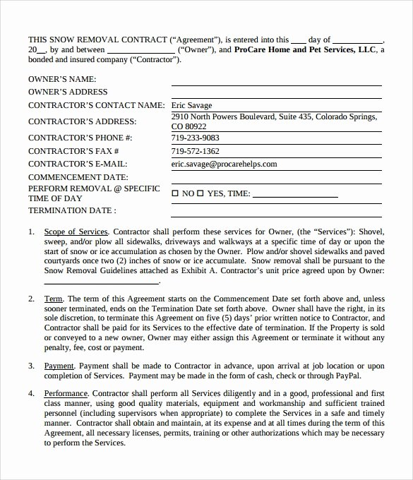 Snow Plow Contract Template Best Of Snow Plowing Contract Template 6 Download Documents In