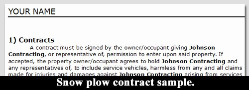 Snow Plow Contract Template Lovely Snow Plow Contract Sample