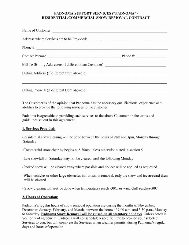 Snow Plow Contract Template Lovely Snow Plowing Contracts