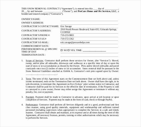 Snow Removal Contract Template Fresh 20 Snow Plowing Contract Templates Google Docs Pdf