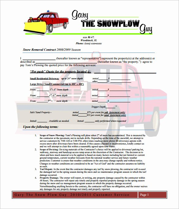 Snow Removal Contract Template Inspirational 20 Snow Plowing Contract Templates Google Docs Pdf