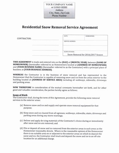 Snow Removal Contract Template Luxury Snow Plow Hourly Rate Residential Agreement $12 99