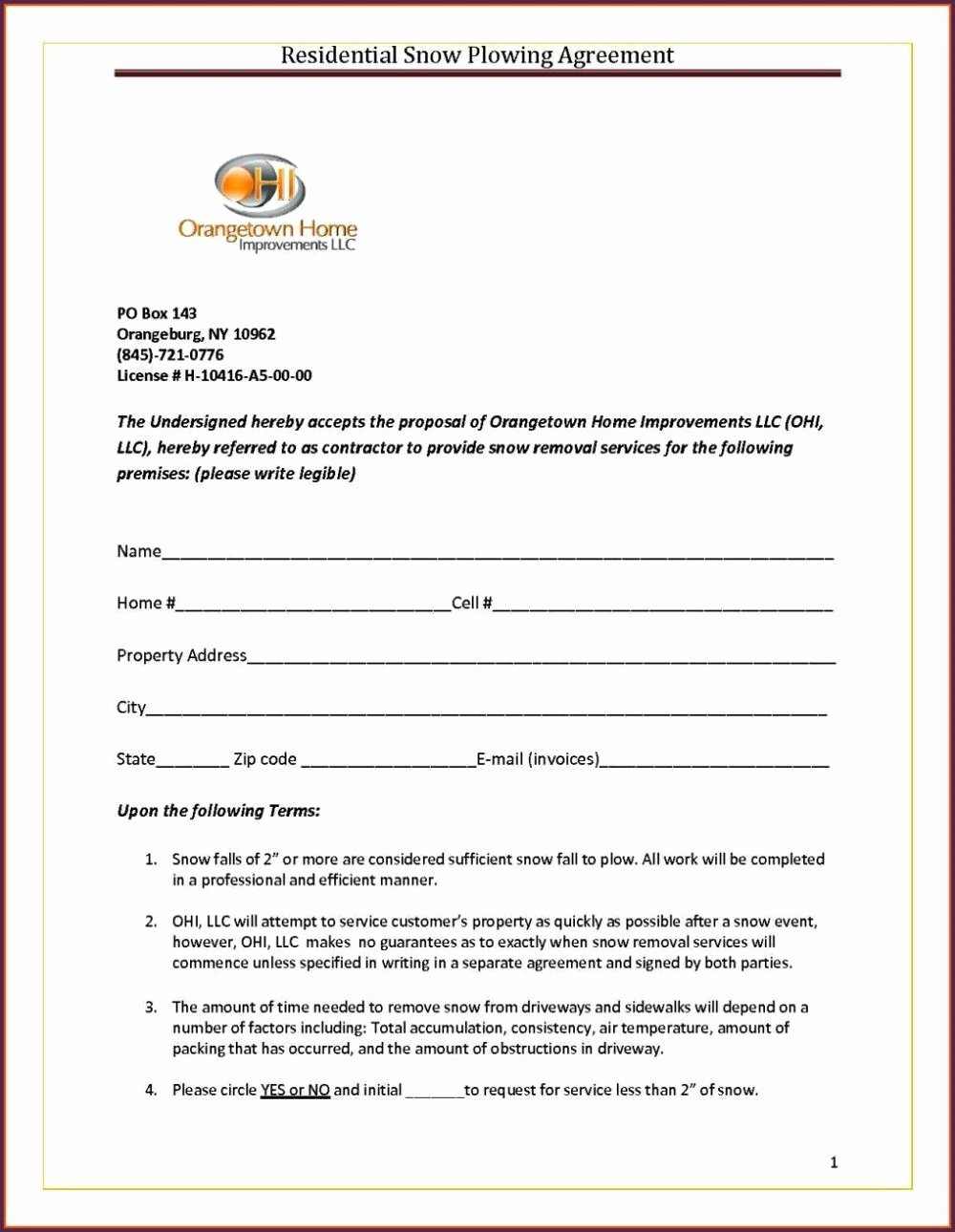 Snow Removal Contract Template Unique Snow Removal Contract Template Sampletemplatess