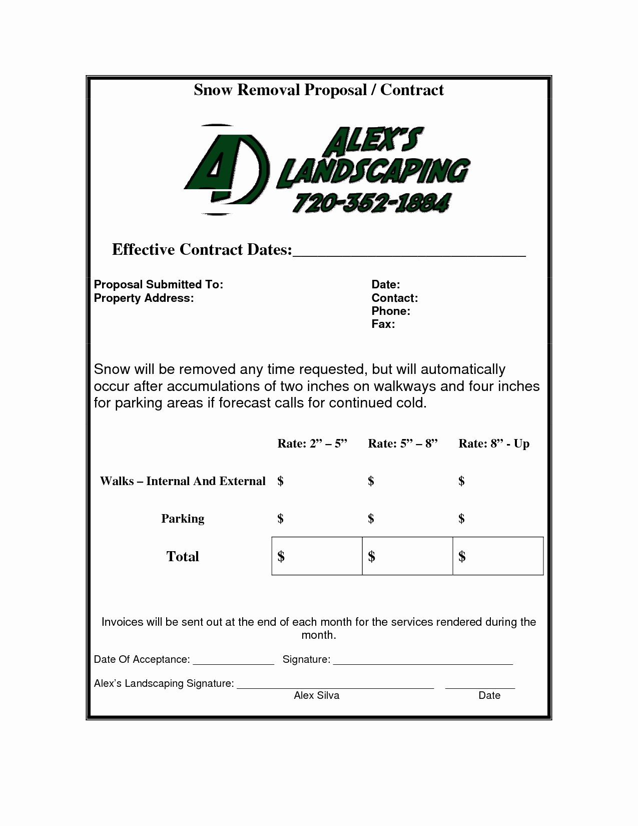 Snow Removal Contract Templates Awesome Snow Removal Invoice Invoice Template Ideas
