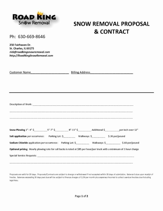 Snow Removal Contract Templates Elegant Web Design Contract Template