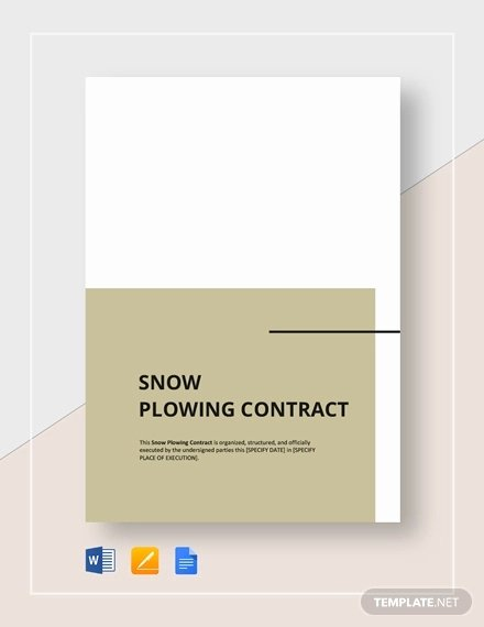 Snow Removal Contracts Template Awesome 19 Snow Plowing Contract Templates Doc Pdf