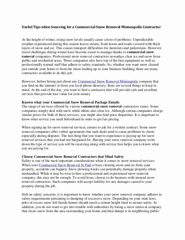 Snow Removal Contracts Template Best Of Snow Plow Contract Template 2199