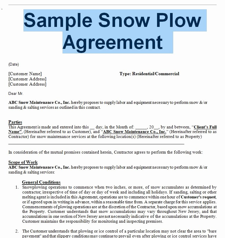 Snow Removal Contracts Template Elegant Snow Removal Agreement and Contract