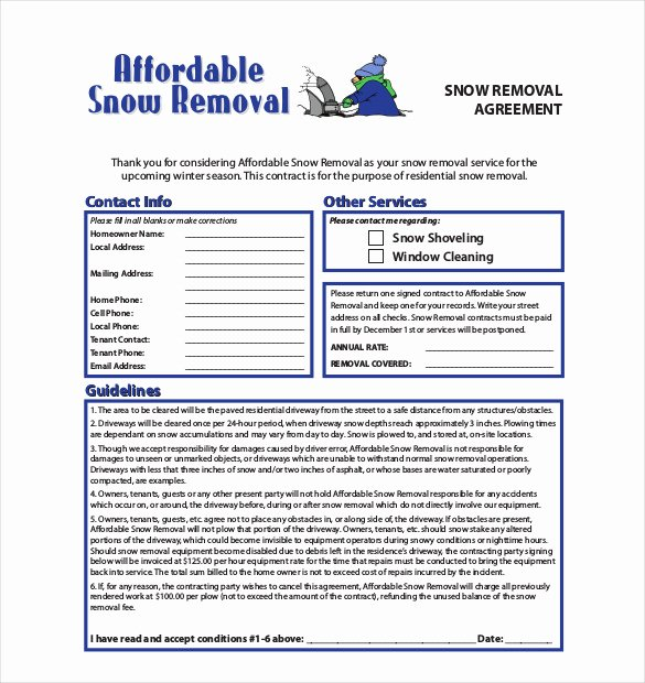 Snow Removal Contracts Template Lovely 20 Snow Plowing Contract Templates Google Docs Pdf