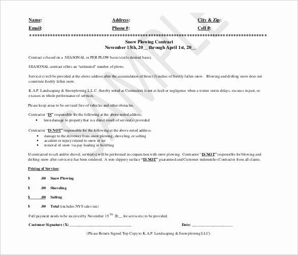Snow Removal Contracts Template Lovely 27 Of Snow Removal Proposal Template Free
