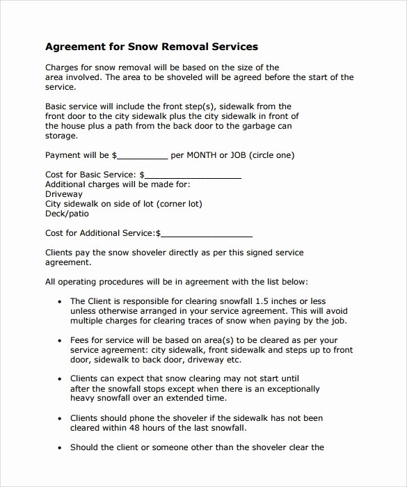 Snow Removal Contracts Template Lovely Snow Plowing Contract Template 7 Download Free