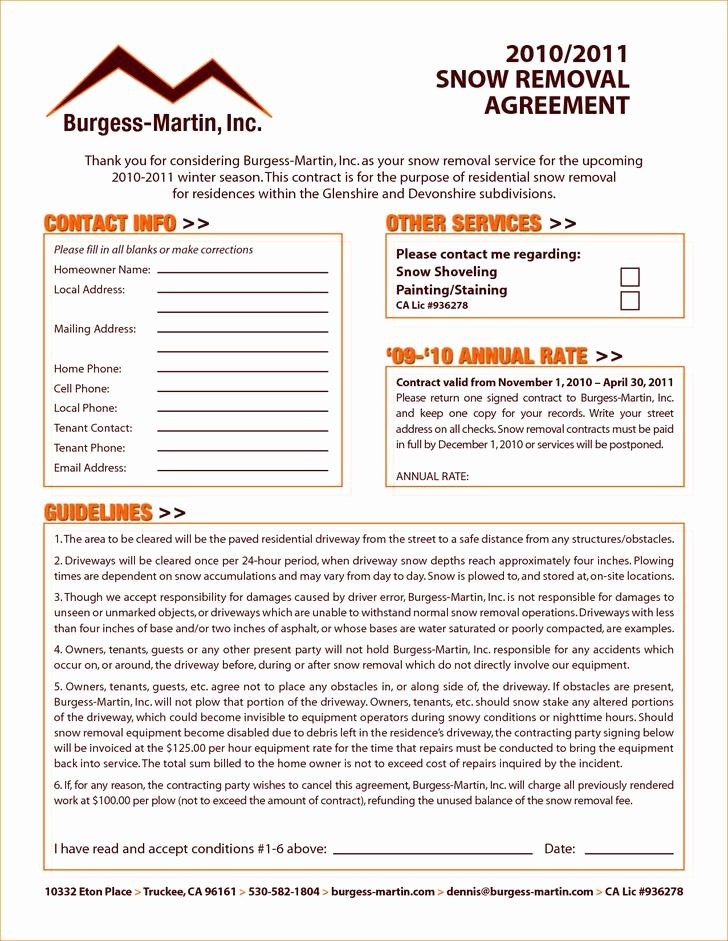 Snow Removal Contracts Templates Best Of 20 Snow Plowing Contract Templates Free Download