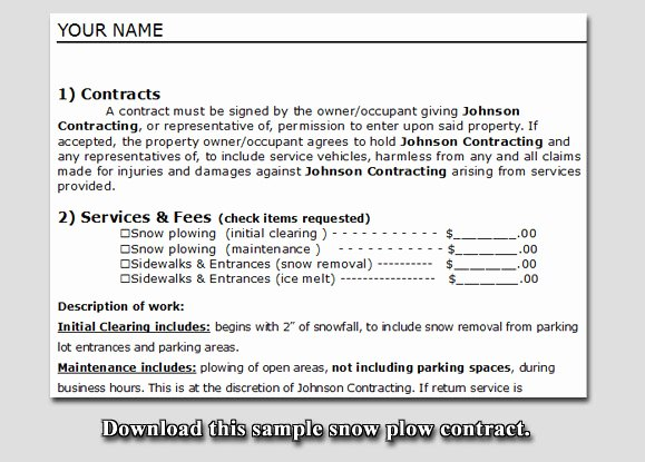 Snow Removal Contracts Templates Fresh Snow Plow Contract Sample