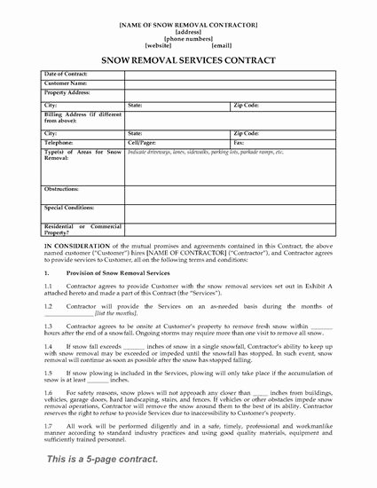 Snow Removal Contracts Templates Unique Snow Removal Contract form
