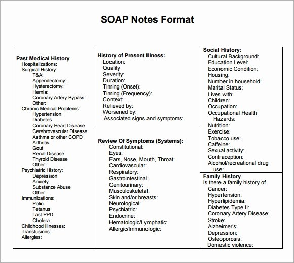 Soap Note Template Pdf Fresh 9 Sample soap Note Templates Word Pdf