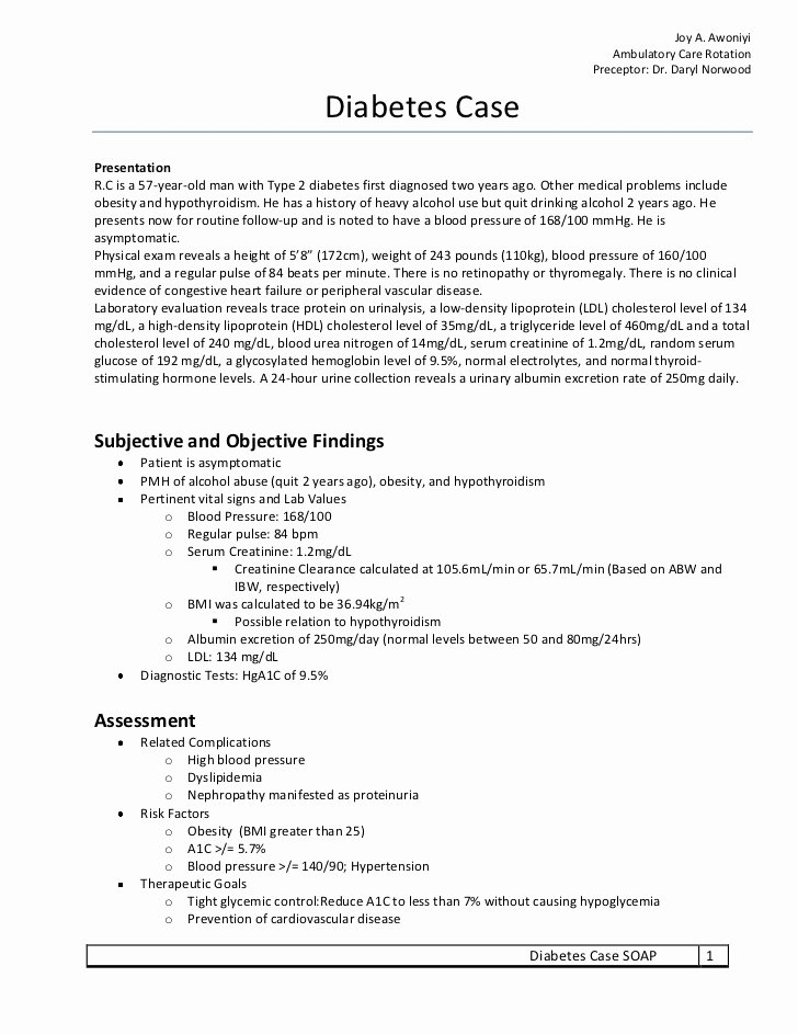 Soap Note Template Pdf Fresh Diabetes soap Note Exercise